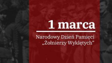 baner z napisem: 1 marca narodowy dzień pamięci żołnierzy Wyklętych